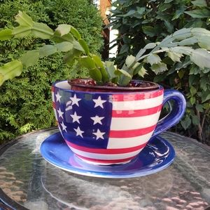 American Flag Potting Plant Holder Cup Shaped!